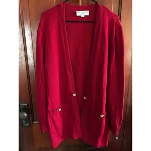 St. John Collection : Red Knit Sweater Cardigan